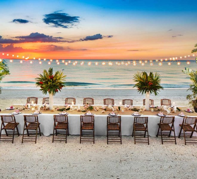 Beach front wedding reception setup by Foreman Productions Inc.
