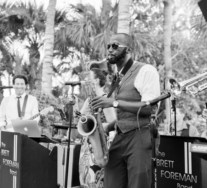 The Brett Foreman Band performing at a Southwest Florida wedding reception