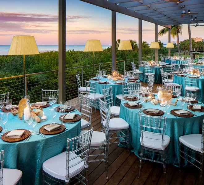 Beach side wedding reception in Southwest Florida managed by Foreman Productions, Inc.