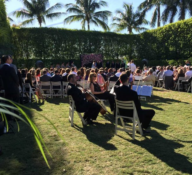 Wedding reception at an outdoor Florida venue managed by Foreman Productions, Inc.
