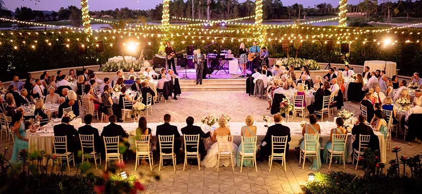 Musical band and guests at a Southwest Florida wedding reception