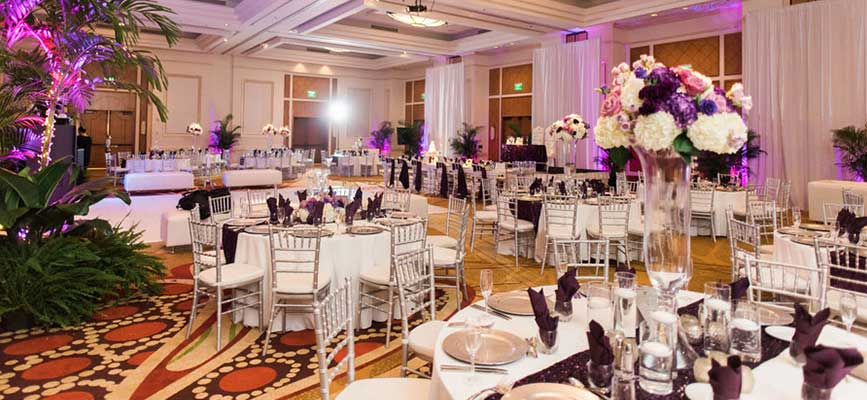 Indoor luxury wedding venue, one of many venues available to Foreman Productions Inc. venue consultants in Southwest Florida