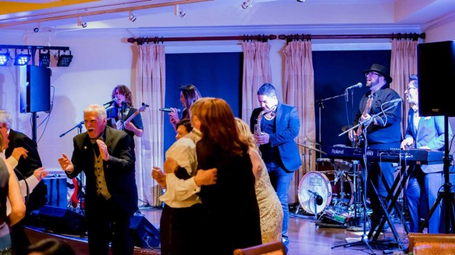 Winslow and The Rockefellers performing at a Southwest Florida wedding reception