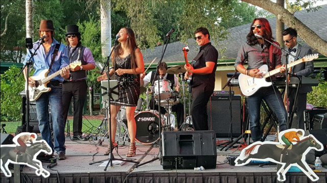 Winslow and The Rockefellers performing at a outdoor private event in Bonita Springs, Florida managed by Foreman Productions, Inc.